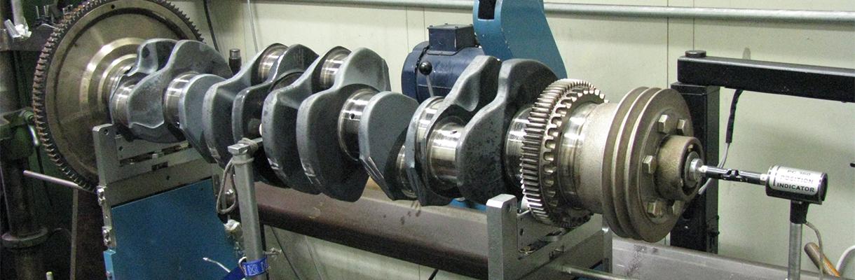A crankshaft undergoing repairs by Rutt's Machine Shop Inc.