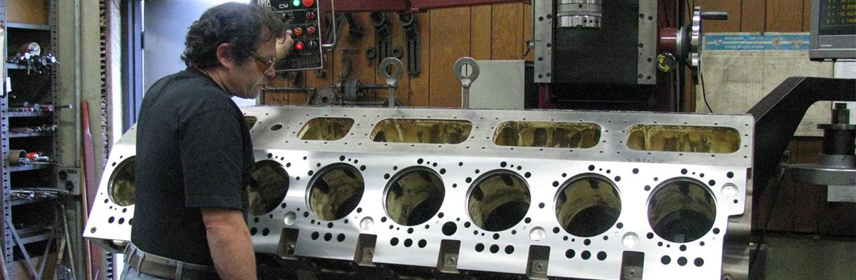 A cylinder block being rebuilt by Rutt's Machine Shop, Inc.
